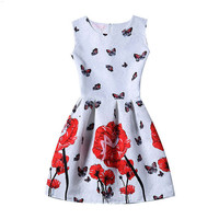 White Floral and Butterfly Print Sleeveless Pleated Dress