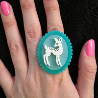 DoeEyed Deer Ring Acrylic Laser Cut by CABfayre on Etsy