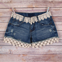 I'll Be Your Flower Child Denim Shorts
