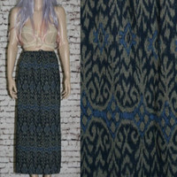 90s High Waist Maxi Skirt Ikat Tribal Ethnic grunge hipster boho festival Hippie Gypsy Earthy blue M L Eddie Bauer Cotton Side Slits