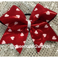Red Metallic with white hearts Cheerleading Dance Ribbon