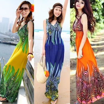 Bohemian Print Deep V-neck High Waist Beach Plus Size Maxi Dress