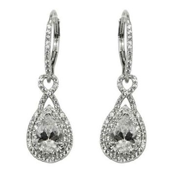 Deja Double Halo Pear Drop Earrings | 4.5ct | Cubic Zirconia | Silver
