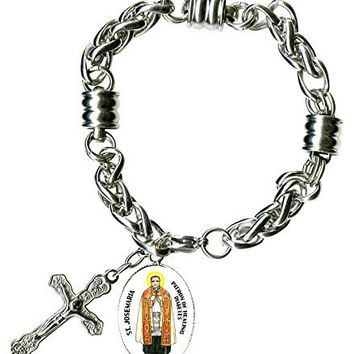 "St Josemaria Patron of Healing Diabetes Charm & Cross Stainless Steel 7"" to 8"" Bracelet"