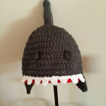 Shark attack! Shark beanie hat, with earflaps