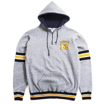 University of Michigan Arch & M Russell Athletic Ribbed Football Hoodie Grey (XL)