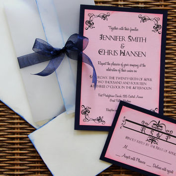 Navy Blue And Pale Pink Wedding Invitations Wedding Invitation