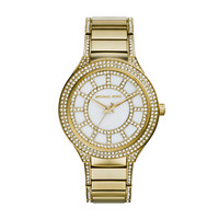 Michael Kors Kerry Gold-Tone Stainless Steel Ladies Crystal Watch with Crystal Bracelet