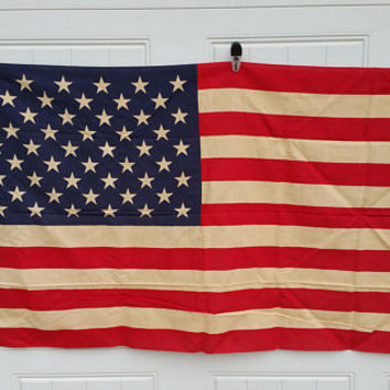 Vintage Rustic Weathered Cotton American Flag