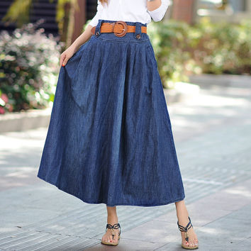 Women's Fashion Plus Size Denim Summer Pleated Prom Dress [10201396743]