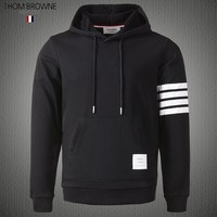 Thom Browne autumn new men's classic striped cashmere drawstring hooded sweater black