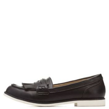 Black White Sole Penny Loafers by Charlotte Russe