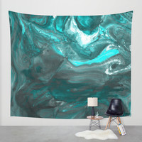 Dark Clouds Gathering - Teal & Grey Marbling Wall Tapestry by TigaTiga Artworks