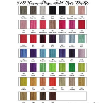 """ROLL / 5/8"""" fold over elastic FOE / 50 yards - 22 color choices"""