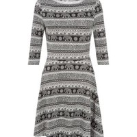 Monochrome 3/4 Sleeve Elephant Print Skater Dress