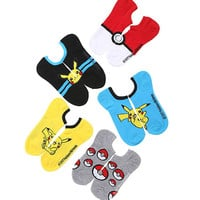 Pokemon Pikachu Poke Ball No-Show Socks 5 Pair