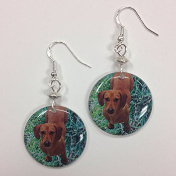 Dachshund Dog Earrings, our custom handpoured charms, on Sterling Silver Earwires
