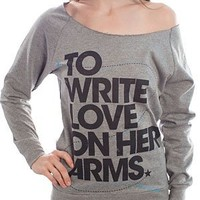 To Write Love On Her Arms Store - Big Title Girls Scoop Sweatshirt Gray
