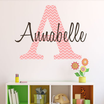Personalized Chevron Pattern Print Name- by Decor Designs Decals, Monogram Girls Wall Decal Pink Chevron Decal Girls Bedroom Nursery Wall Decor Girls Wall Decals A16