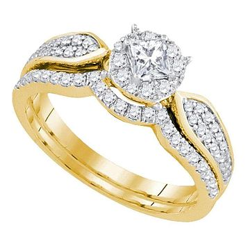 14k Yellow Gold Women's Princess Diamond Bridal Wedding Engagement Ring Band Set 3/4 Cttw - FREE Shipping (US/CAN)
