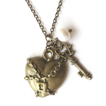 Antique bronzechained and locked heart, skeleton key charm and white south sea pearl necklace
