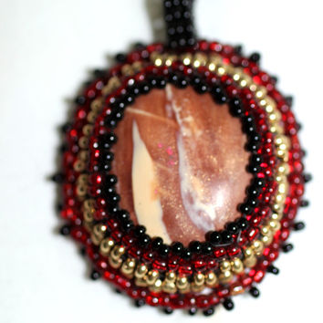 Beaded Cabochon Pendant Necklace, Black and Red Cabochon Necklace, Beaded Cabochon, Polymer Clay Beaded Cabochon Pendant Necklace