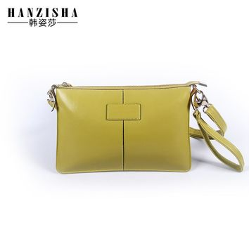 HANZISHA Brand Wax Oil Genuine Leather Women Messenger Bag Vintage Crossbody Bag Fashion Shoulder Bag Simple Women Small Bag