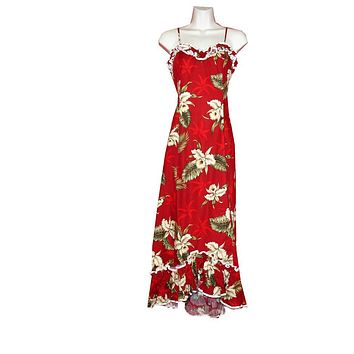 KY's Red with Orchid and Palm Trees 100% Cotton Long Spaghetti Strap Muu Muu
