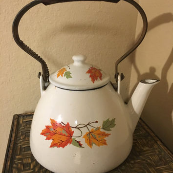 Rare Descoware enamaled cast iron kettle teapot, Made in Belgium, rare, wooden handle autumn leaf design fall leaves , rare autumnal motif