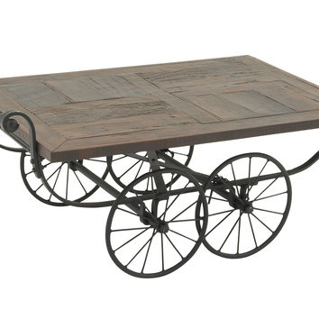 Wheeled Wood Metal Cart Coffee Table 47In W, 22In H
