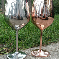 Monogrammed Stainless Steel Wine Glass. Copper Monogrammed Wine Glass
