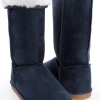 NAVY FAUX SUEDE FAUX FUR LINING WINTER BOOTS