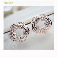 Real gold plated rose flower loop zircon stud earring with silver needle, new spring stud earring