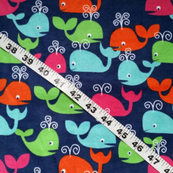 Kids Flannel fabric with whales colorful bright  cotton print quilt quilting sewing material to sew by the yard crafts crafting project