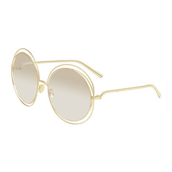 Marchon Eyewear Carlina Round Mirrored Sunglasses, Golden/Beige
