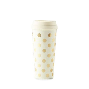 Thermal Mug in Gold Dot by Kate Spade New York