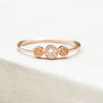 3-Stone Milgrain Ring - Rose Gold + Champagne