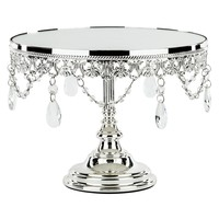 10 Inch Shiny Metallic Mirror-Top Cake Stand (Silver Plated)