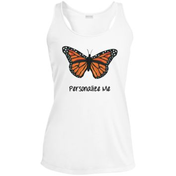 Monarch Butterfly Personalized Ladies' Racerback Moisture Wicking Tank