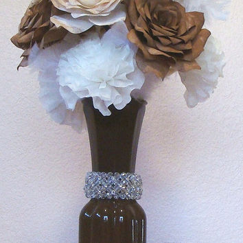 Free Shipping, Brown Vase, Paper flowers, Fake flowers, Home decor, Wedding Centerpiece, Bridal Vase, coffee filter, Floral arrangement
