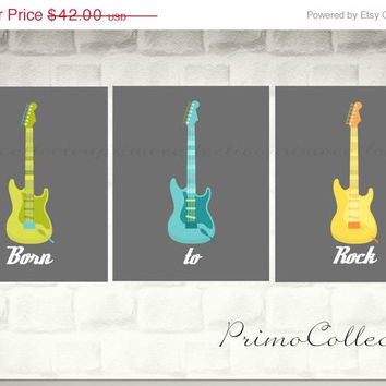 Born to Rock Nursery Art Prints / 3 piece set / three 8x10 inch/ baby boy's room decor / lime green , gray , turquoise / guitars wall art