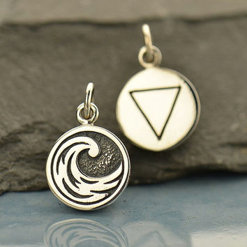 NEW - Water Element Necklace - Solid 925 Sterling Silver Feng Shui Symbol Charm - Free Domestic Shipping