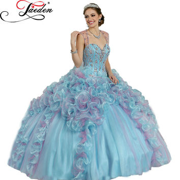 JE121 Fashion luxury beads crystal Ball Gowns 2015 Quinceanera Dresses cheap formal party Quinceaneras dresses plus size