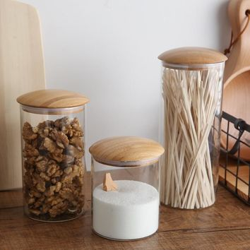 Glass Kitchen Canisters with Bamboo Mushroom Style Lid