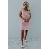 Playful Hearts Dress: Pink/White