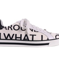 Versace Men's White Leather Letter Print Low Top Sneakers