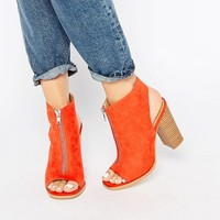 Glamorous Burnt Orange Suede Peep Toe Shoe Boots