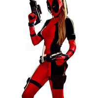 2016 Freeshipping Lady Deadpool Black and Red Spandex Bodysuit with Ponytail Hole halloween costumes for women open eyes