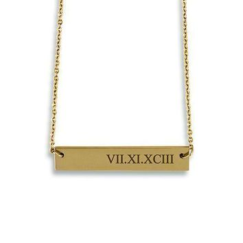Horizontal Rectangle Tag Necklace - Roman Numerals (Pack of 1)