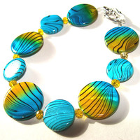 Mother Of Pearl Shell Bracelet Beaded In Turquoise And Yellow Women Summer Fashion Jewelry